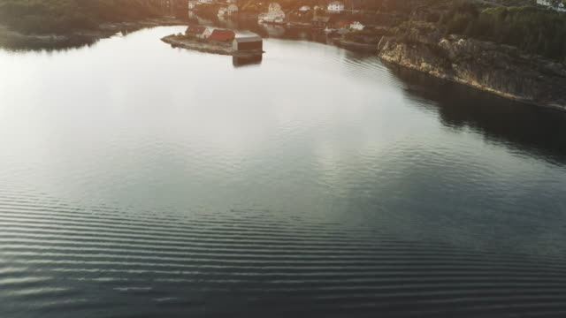 Aerial drone view: flying over coasts of Bergen, in the North Sea