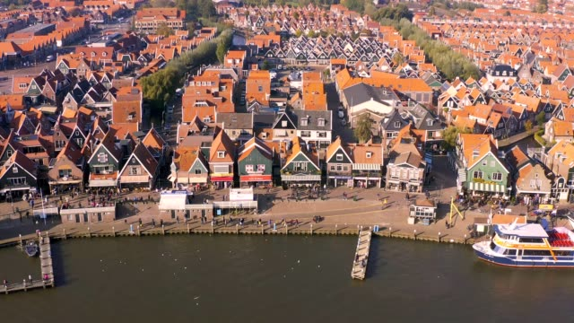 Aerial drone view of a village in the municipality of Waterland in the province of North Holland, Netherlands