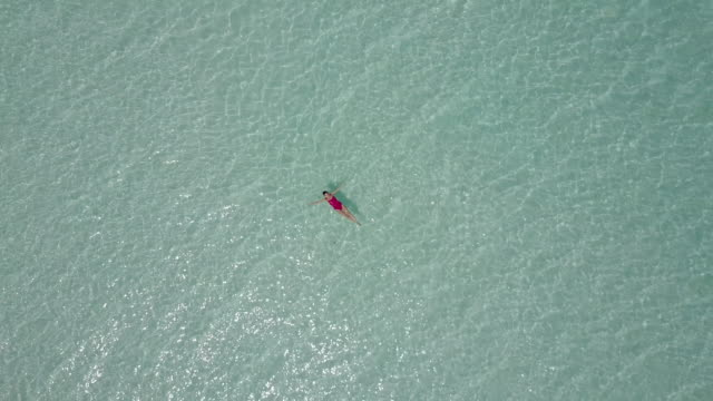 aerial drone view of a woman floating and swimming on bacalar lagoon, mexico. - aerial beach stock videos & royalty-free footage