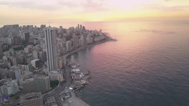 Aerial drone view of Beirut, Lebanon, during beautiful golden hour sunset. The best aerial footage of Beirut, Lebanon, you can find. beirut stock videos & royalty-free footage