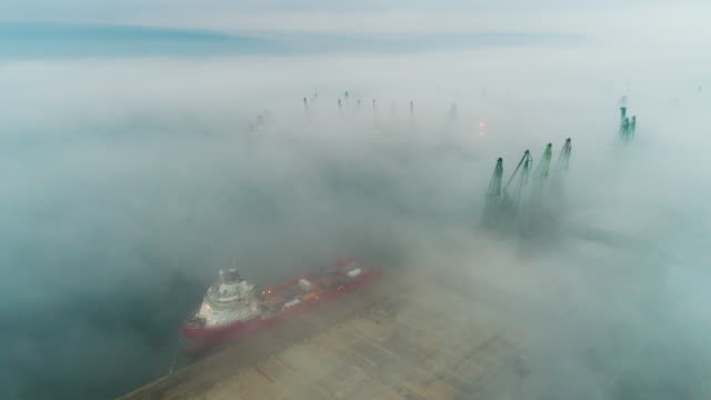 Aerial drone view of cargo ship and loading cranes in fog in the sea harbor video