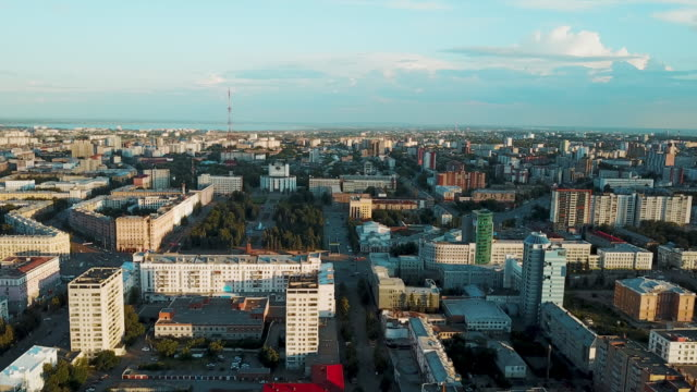 Aerial drone view of Chelyabinsk city center, Russia Drone flight over the main pedestrian street, sunny weekend evening in the family rest area, city center of the South Ural capital, Chelyabinsk, Russia ecosystem stock videos & royalty-free footage