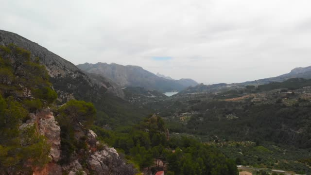 Aerial drone view of Guadalest Valley, Spain