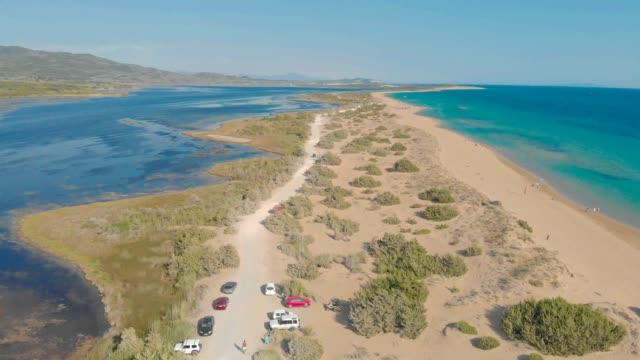 Aerial drone view of Halikounas Beach and Lake Korission, Corfu island, Ionian Sea, Greece