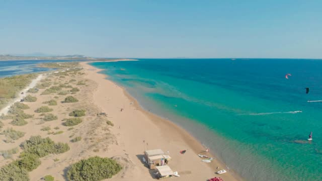 Aerial drone view of Halikounas Beach and Lake Korission, Corfu island, Ionian Sea, Greece Aerial drone view of Halikounas Beach and Lake Korission, Corfu island, Ionian Sea, Greece greek islands stock videos & royalty-free footage