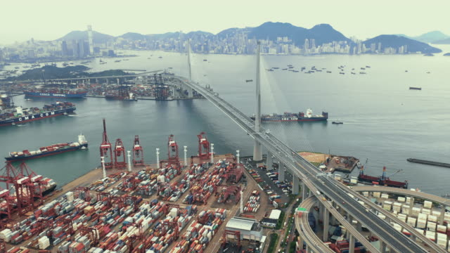 Video Aerial Drone View of Industrial port with Container port where is a part of shipping