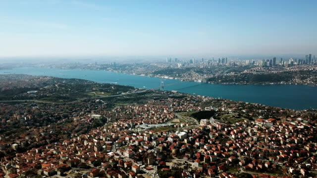 aerial drone view of istanbul camlica mosque and bosphorus. biggest mosque in europa - stambuł filmów i materiałów b-roll