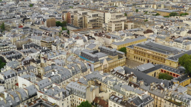 Aerial drone view of Paris, France