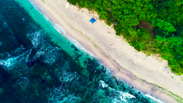 Aerial drone view of rocky coastline with crashing sea waves and beautiful nature Aerial drone view of rocky coastline with crashing sea waves and beautiful nature. high dynamic range imaging stock videos & royalty-free footage