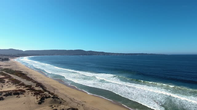 Aerial Drone view of Sand City and Monterey California with the ocean 4k