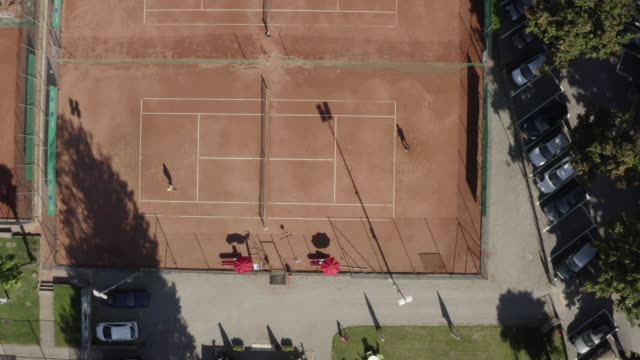 Aerial drone view of tennis court from above