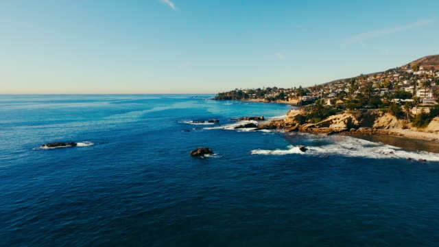 Aerial drone view of the pacific ocean and the reef in Southern California's Laguna Beach. video