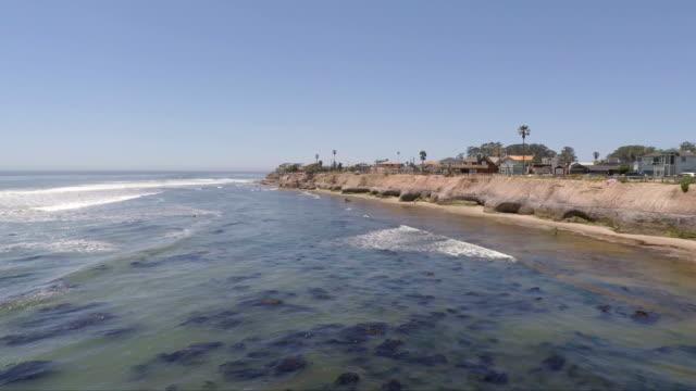 Aerial Drone View of the Pleasure Point Neighborhood in Santa Cruz, California, USA video