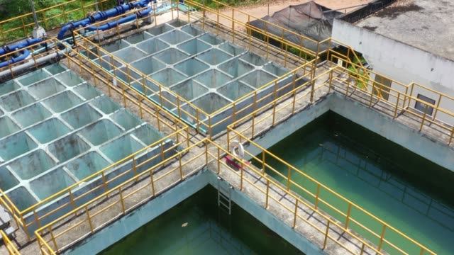 aerial drone view of water plumbing factory