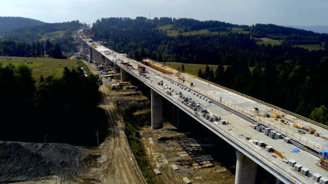 Aerial drone view on highway under construction.