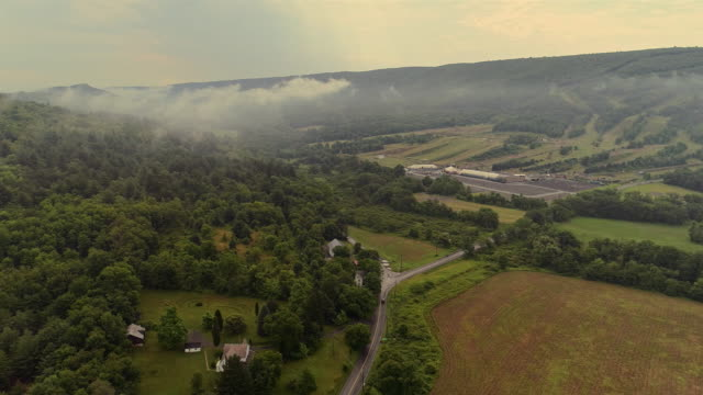 aerial drone view to the blue mountains covered by low clouds, poconos, pennsylvania, at the early morning. - горы поконо стоковые видео и кадры b-roll