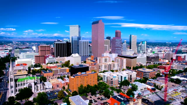 Aerial Drone views of Downtown Cityscape of Denver , Colorado , USA