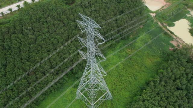 aerial electricity pylons in the rural scene - sottostazione elettrica video stock e b–roll