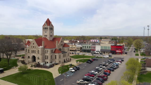 Aerial Elevation up Over The Town Square in Rochester Indiana