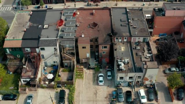 Aerial establishing shot of an empty alley in a big city.