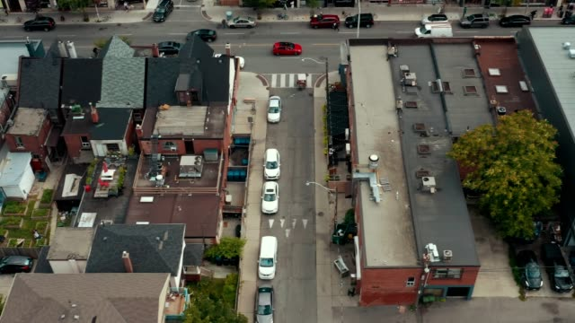 Aerial establishing shot of an empty alley in a big city.