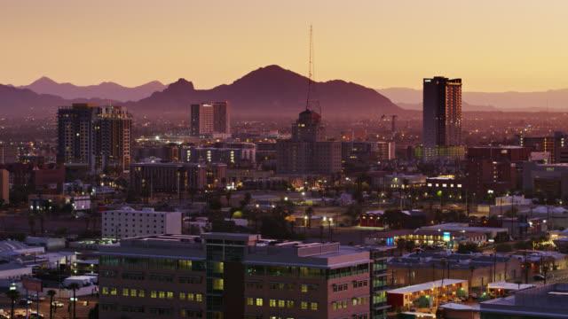 Aerial Establishing Shot of Downtown Phoenix at Sunrise