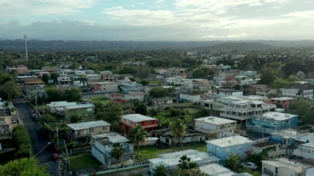 Aerial Establishing Shot of Puerto Nuevo in Coastal Puerto Rico. Aerial Establishing Shot of Puerto Nuevo in Coastal Puerto Rico. An area still recovering from Hurricane Maria. puerto rico stock videos & royalty-free footage