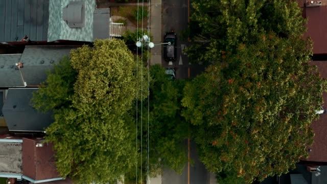 Aerial establishing shot of residential areas in a large metropolitan city.