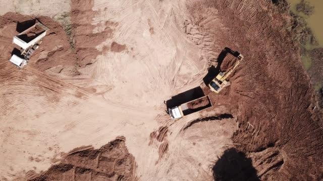 Aerial excavator backhoe working in construction