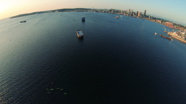 aerial fisheye of boats in elliot bay seattle with golden sunset lighting - fish eye video stock e b–roll