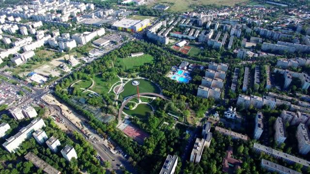 Aerial flight above Bucharest city, Moghioros park, Romania video