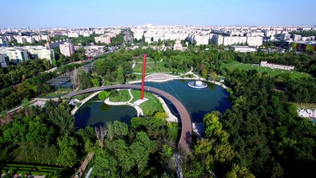 Aerial flight above Moghioros park, Bucharest, Romania video
