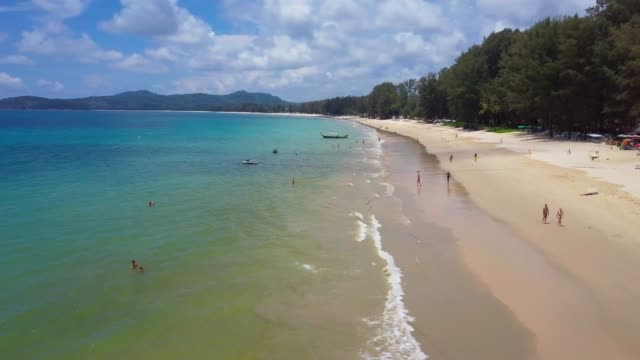 aerial flight above tropical beach - phuket video stock e b–roll