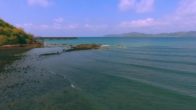 4K Aerial Flight Over  Beach and Beautiful Blue Ocean. video
