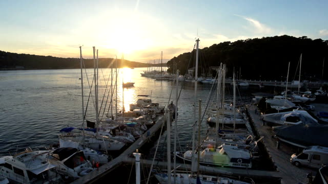 Aerial: flight past and above the masts of sailboats in marina at sunset video