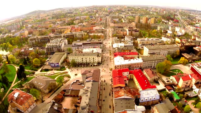 Aerial flight view of Kielce old town, Poland video