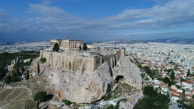 Aerial flight with drone over the famous of Parthenon and Acropolis in Athens,Greece Aerial flight with drone over the famous of Parthenon and Acropolis in Athens,Greece athens greece stock videos & royalty-free footage