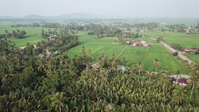 aerial fly over rural village area - юго восток стоковые видео и кадры b-roll
