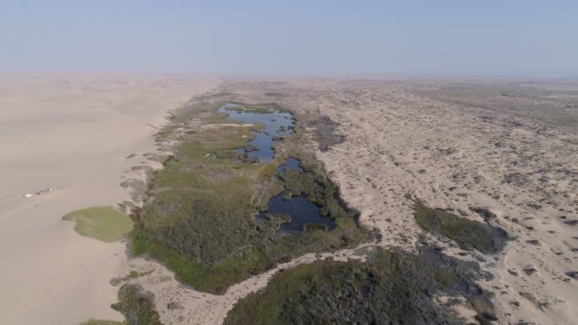 4K aerial fly over view of an oasis spring in the Namib desert, Skeleton Coast,Namibia 4K aerial fly over view of an oasis spring in the Namib desert, Skeleton Coast,Namibia desert oasis stock videos & royalty-free footage