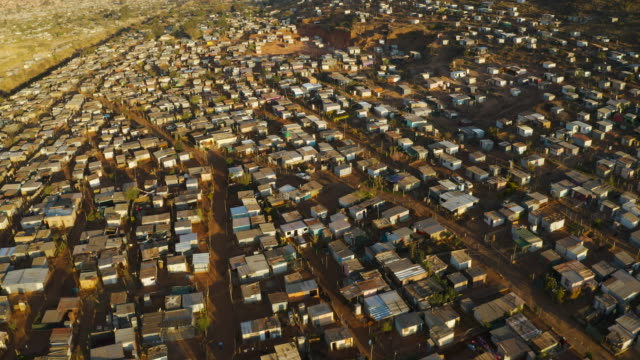 Aerial fly over view of the densly over crowded and populated Mamelodi African township(squatter camp), South Africa