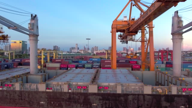 Aerial: Flying above a lot of cargo containers aerial view,container commercial dock stock videos & royalty-free footage