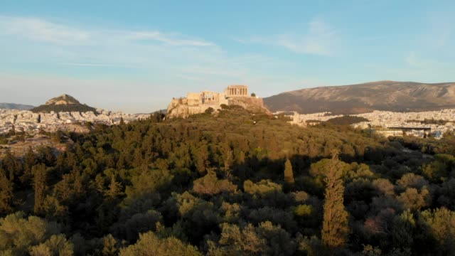 Aerial - flying into the Acropolis of Athens through a hill video