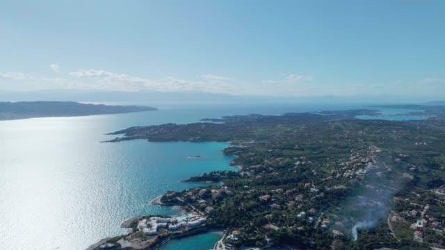 Aerial - flying straight forward above Porto Heli at dusk - Porto Cheli - Greece - Argolis - Argolida video