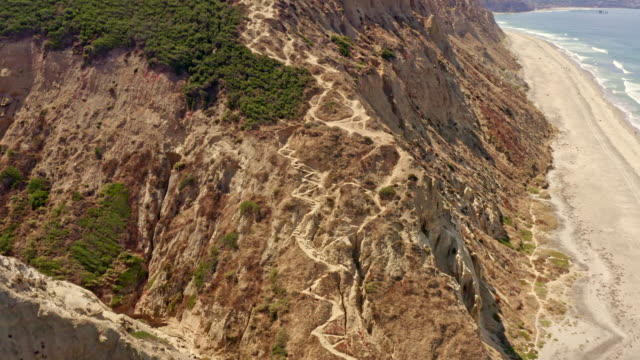 Aerial Flyover of Steep Trail on the Cliffs at Torrey Pines in La Jolla, San Diego California