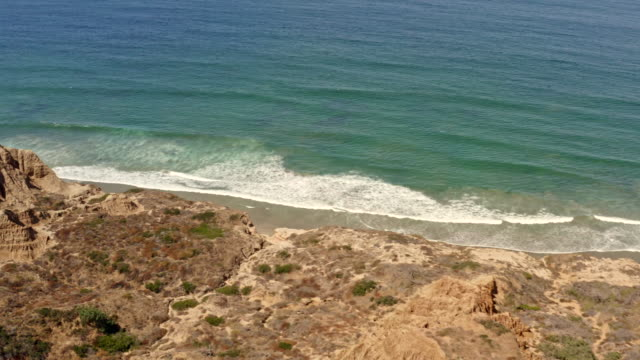 Aerial Flyover of the Cliffs at Torrey Pines in La Jolla, San Diego California