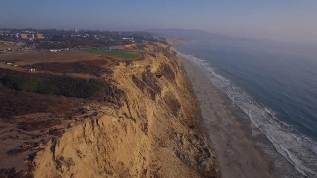 Aerial Flyover of the Cliffs at Torrey Pines in La Jolla/San Diego California video