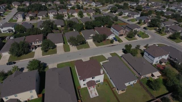 aerial flyover of typical san antonio texas residential neighborhood - san antonio texas stock videos & royalty-free footage