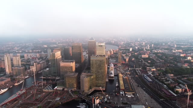 4K Aerial Footage Above The Towers Of London's Financial District, Canary Wharf video