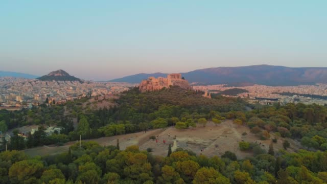 Aerial footage - Acropolis of Athens and the hill of Filopappou at sunset - Greece - View of Athens from the video