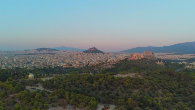 Aerial footage - Acropolis of Athens and the hill of Filopappou at sunset - Greece video